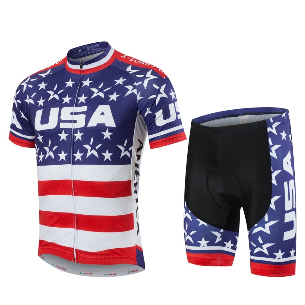 Xinzechen Short Sleeve Cycling Jersey and 3D Padded Shorts Set USA Flag Size L by Xinzechen