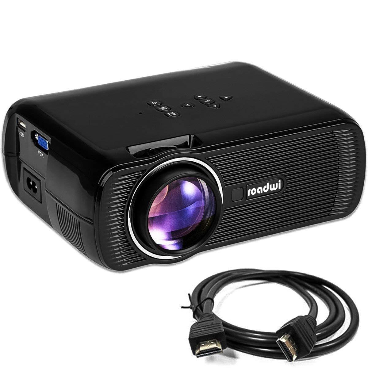 Roadwi Video Mini Portable Projector, 1500 lumens, Support 1080P HDMI AV VGA USB SD TV Multimedia Home Theater Games Family Movie Night Party Travel