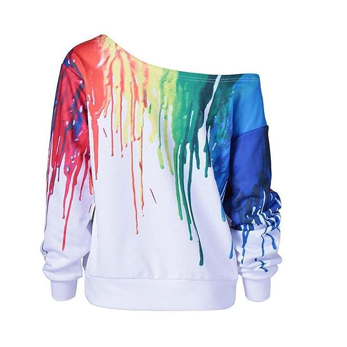 Vovotrade 2017 Moda Color de la pintura artista multicolor Arco iris Mujer Manga larga Cuello redondo Blusa suelta Casual Camisa Manga larga: Amazon.es: ...