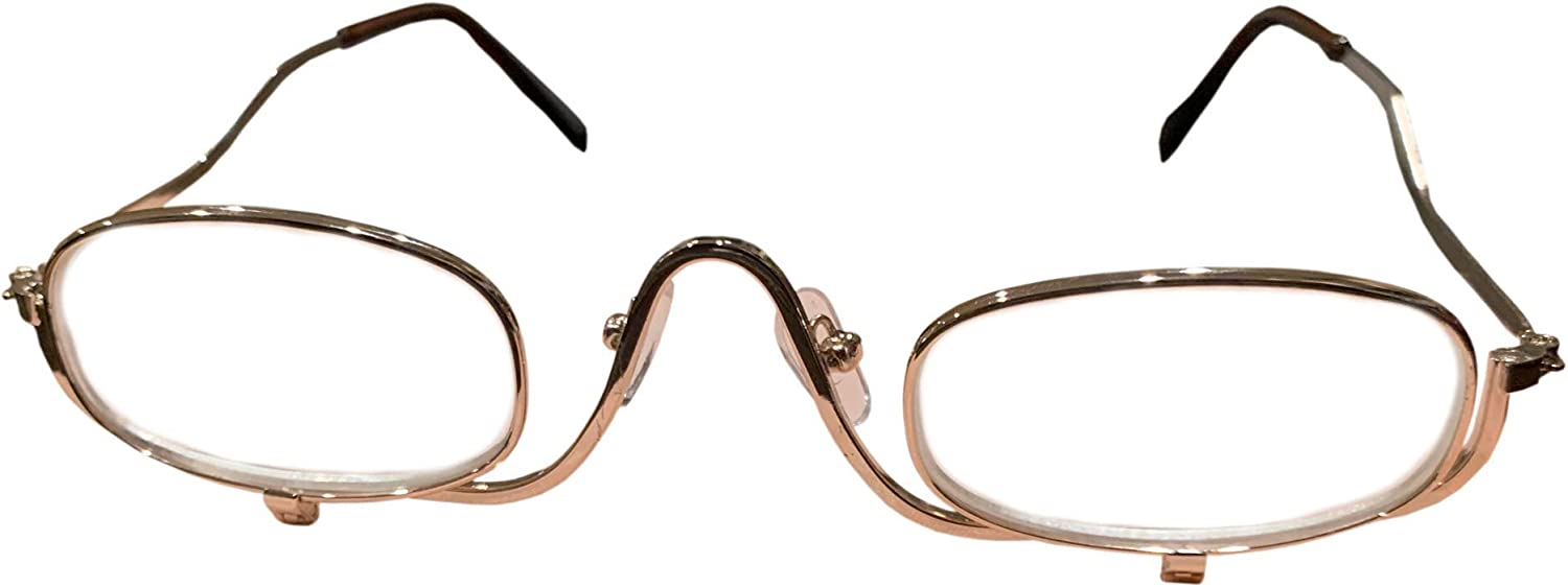 2 Pack Magnifying Make Up Glasses -3X Magnification Flip Up Eye Glasses for Cosmetic Application Golden Metal Frame - Free Eyeglass Pouch (3X)