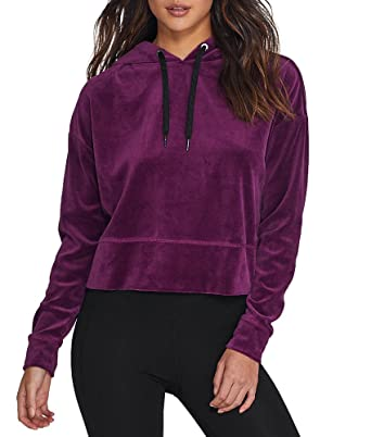a7f16612295 Amazon.com  Calvin Klein Womens Plus Velour Work Out Hoodie  Clothing