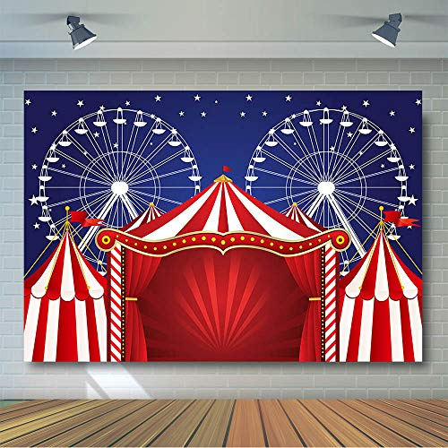 COMOPHOTO Circus Theme Backdrop for Birthday Party Banner Carnival Background Red Tent Ferris Wheel Photography Backdrops Photobooth Supplies ()