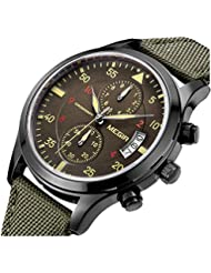 PASOY Mens Military pilot Style Chronograph Dial Sport Watch Green Nylon Strap Day Analog Quartz Watches