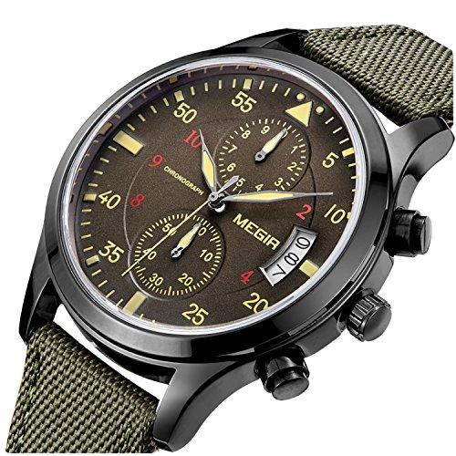 PASOY Men's Military pilot Style Chronograph Dial Sport Watch Green Nylon Strap Day Analog Quartz Watches (Military Chronograph Pilot Watch)