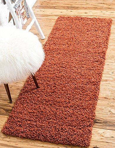 "Unique Loom Solid Shag Collection Terracotta 2 x 6 Runner Area Rug (2' 2"" x 6' 5"")"
