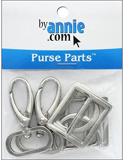 Patterns ByAnnie Hardware Set Nickel 1in 3 Swivel Hook Wide Mouth Slider