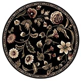 Transitional Oriental Area Rug 8x8 Floral Persian Round Actual - 7' 10'' x 7' 10'' (Blacks)
