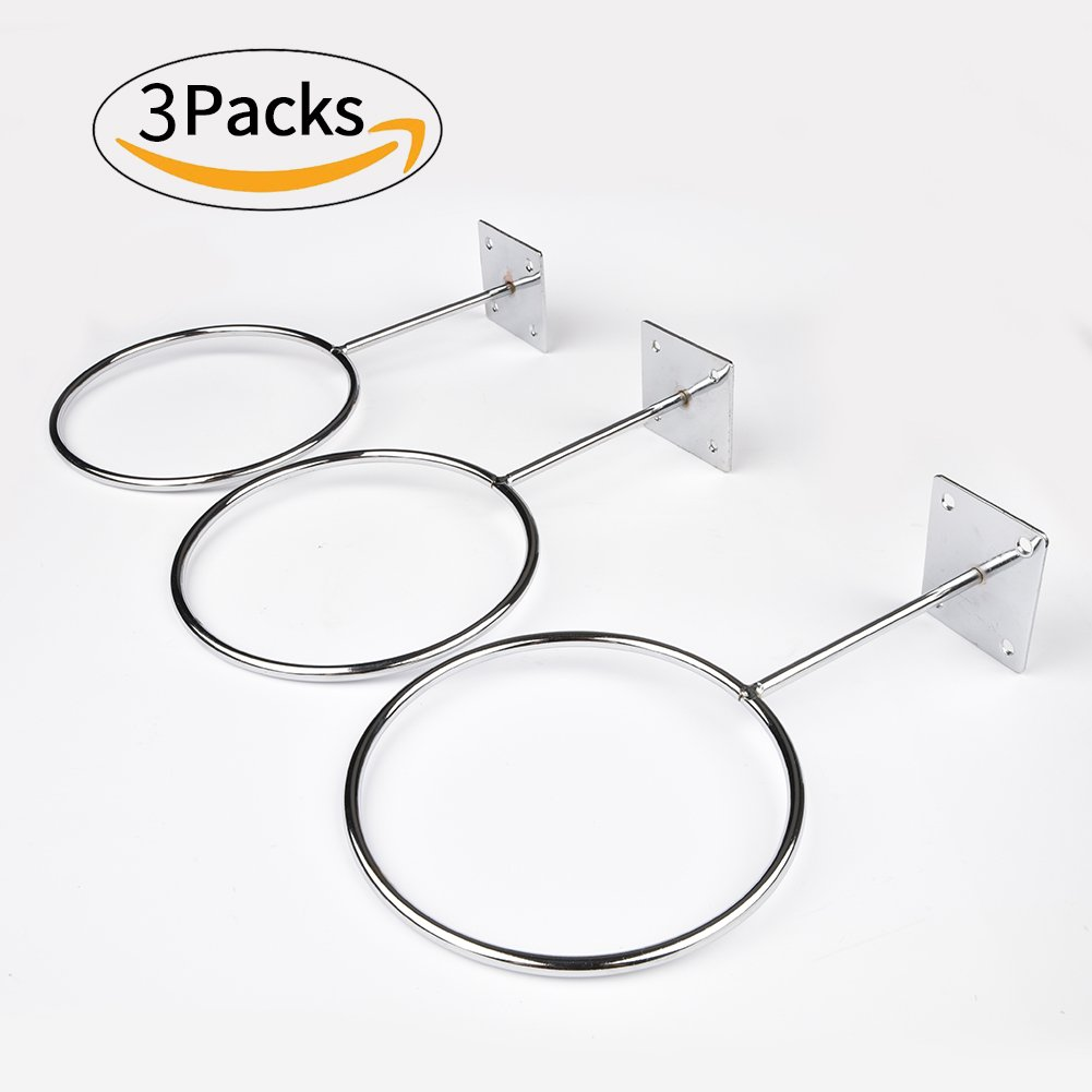 Caifede 3 pcs Wall Mount Sports Ball Holder Organizer Storage For Basketballs, Volleyballs, Soccer Balls Display