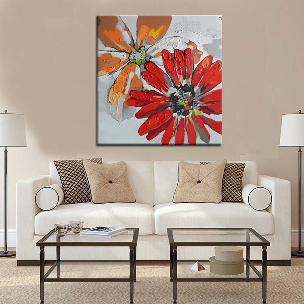 WHUI Ölgemälde Red Floral Handgemalte Ölgemälde Kunstwerk Leinwand Wandkunst Bereit, Wohnzimmer Schlafzimmer Wohnkultur Zu Hängen