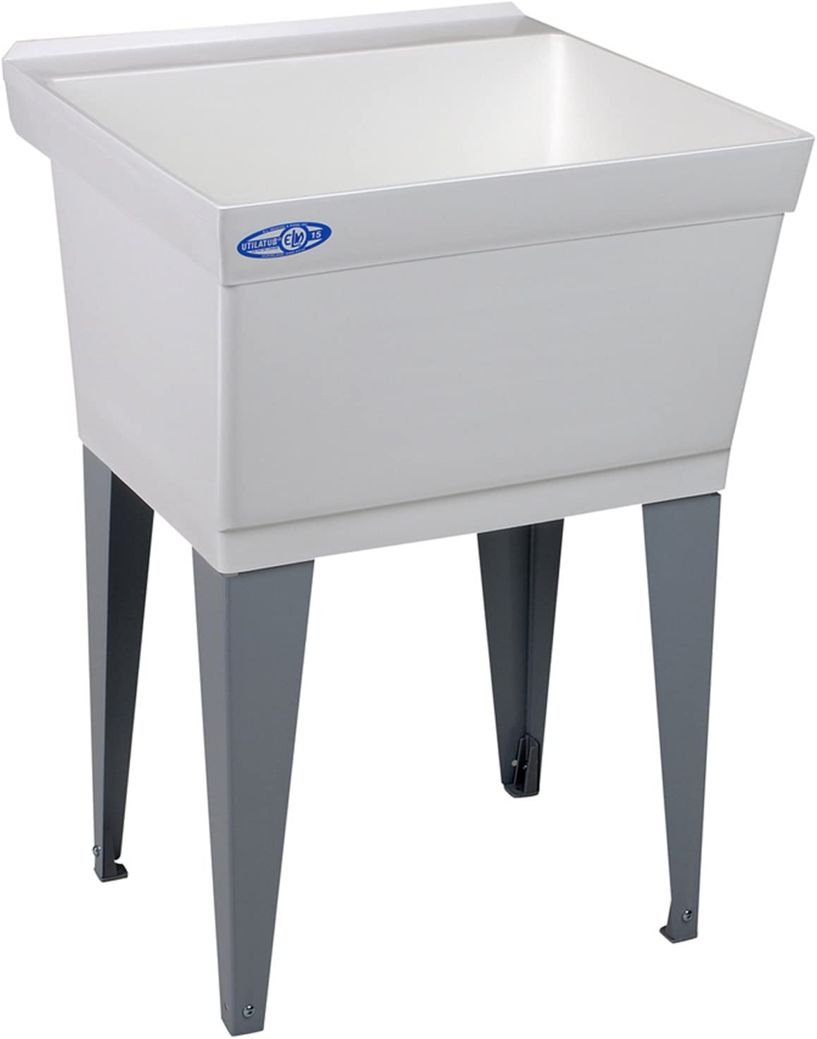 Mustee 15F Utilatub Laundry Tub Floor Mount, 23.5-Inch x 23-Inch, White