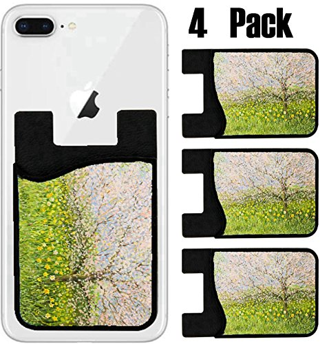 Springtime Oil Painting (MSD Phone Card holder, sleeve/wallet for iPhone Samsung Android and all smartphones with removable microfiber screen cleaner Silicone card Caddy(4 Pack) An oil painting on canvas of a springtime natur)