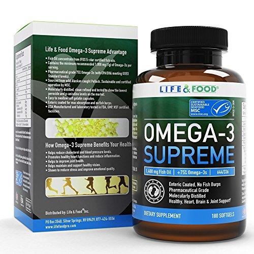1400 mg de aceite de pescado Supremo de Omega-3 para el cerebro y la salud del corazón. MSC certificado + 75% Omega-3 1050 mg, 644/336, NO pescado eructos y absorción mejorada | Destilación molecular, mercurio, PCB/toxina probada (ct 180)