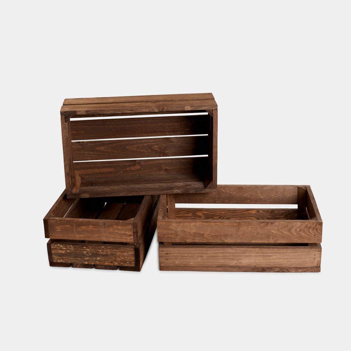 Rebaja oferta lote set juego 3 cajas cajón caja cajones frutas madera tono envejecido 50x30x17 cm 1,4 grosor ideal para decoracion,estanteria. regalo, fabricadas artesanalmente handmade