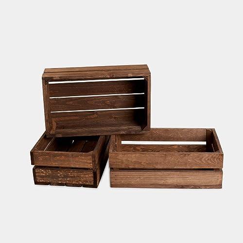 Rebaja oferta lote set juego 3 cajas cajón caja cajones frutas madera tono envejecido 50x30x17 cm 1,4 grosor ideal para decoracion,estanteria. regalo, fabricadas artesanalmente handmade: Amazon.es: Handmade