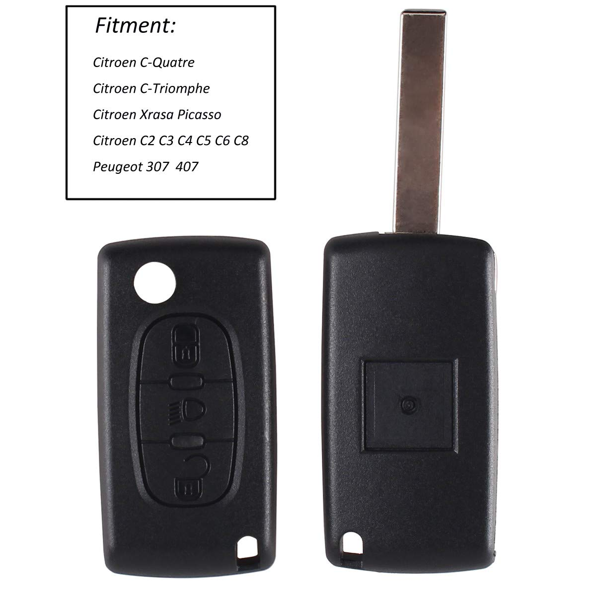 Heart Horse Replacement 3 button flip key fob case Compatible with Citroen  C4 C5 C6 C8 Remote (Has Groove + No Battery Holder)