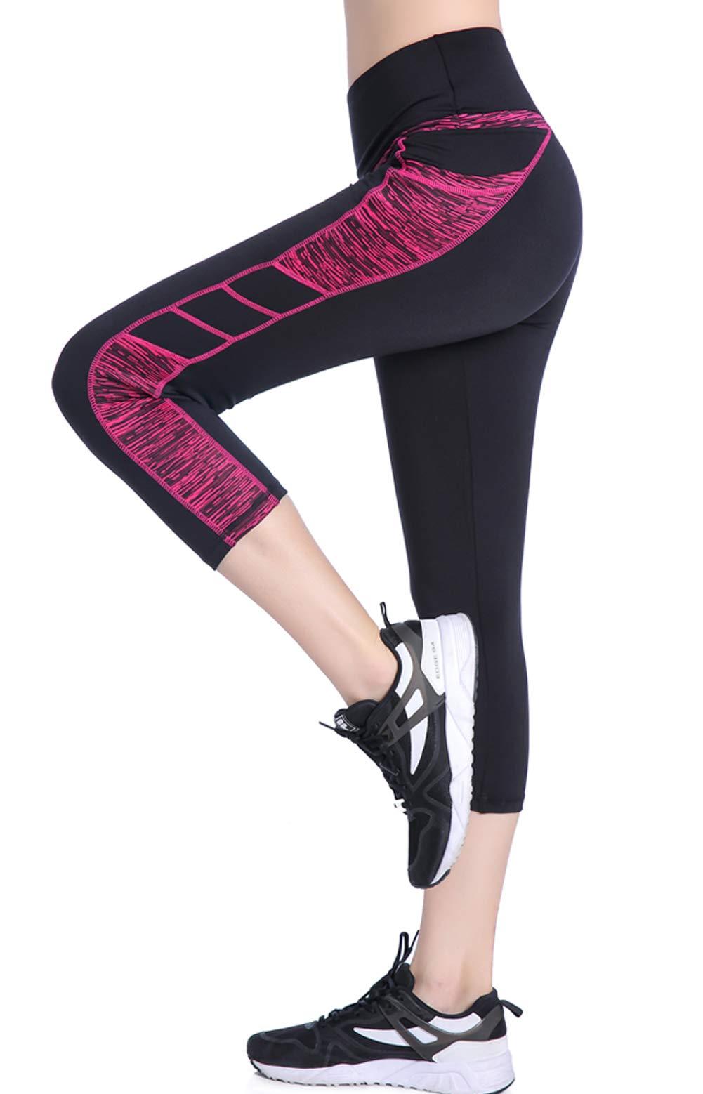 Picotee Women's Yoga Capri Pants Workout Running Leggings Tights High Waist with Pocket (M)