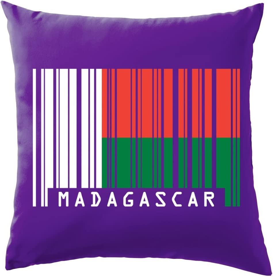 Madagascar código de barras estilo bandera – cojín 41 x 41 cm (16