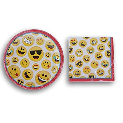 Emoji Faces Party Supply Kit - Napkins and Plates: Toys & Games