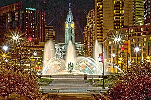 (Philadelphia Logan Square and City Hall Canvas Art Print (12x14))