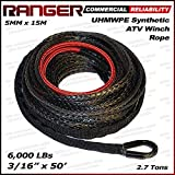 Ranger 6,000 LBs 3/16'' x 50' UHMWPE Synthetic Winch Rope 5 MM x 15 M for ATV Winch
