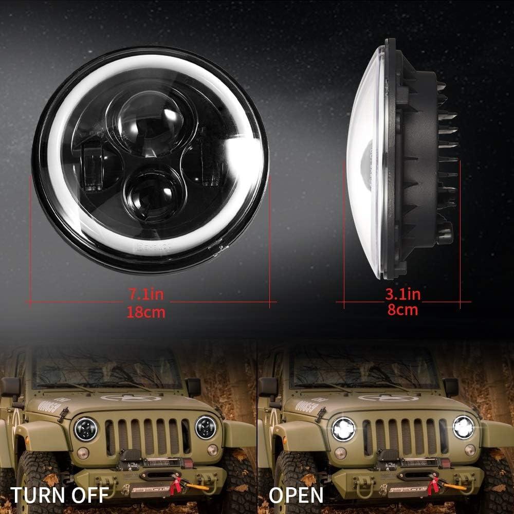 Motorcycle DOT 7 inch 40W ROUND LED Harley Davidson Headlight Projector HID Light Bulb fog lamp for Jeep Wrangler JK LJ CJ Hummer H1 H2 BLACK 2 Pcs