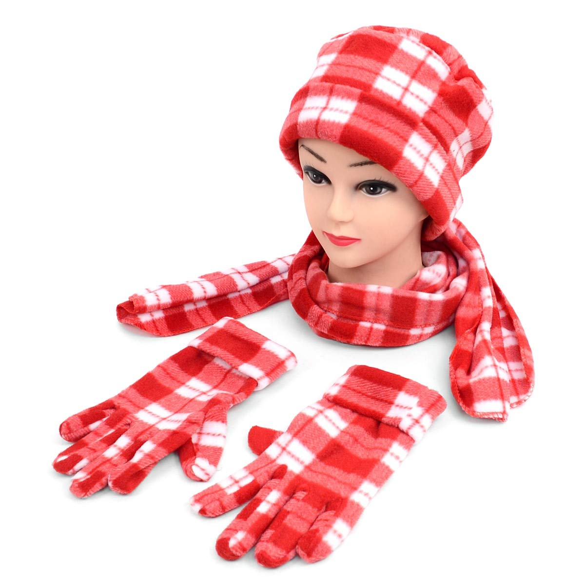 Scarf /& Glove Womens Winter Set Mixed Style 3 Piece Fleece Hat