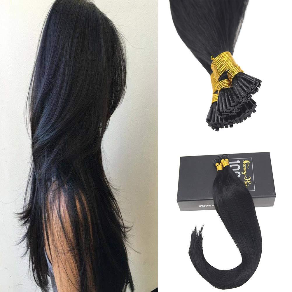 Amazon Sunny 14inch Jet Black 1 Remy I Tip Stick Human Hair