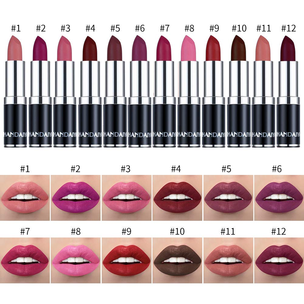 BONNIESTORE 12 Pcs Matte Lipstick Set, Waterproof Long Lasting Moisturizer Matte Lip Sets for Women