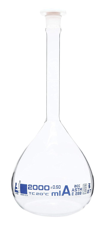 Class A Polypropylene Stopper Eisco Labs ASTM Volumetric Flask 2000ml Borosilicate 3.3 Glass