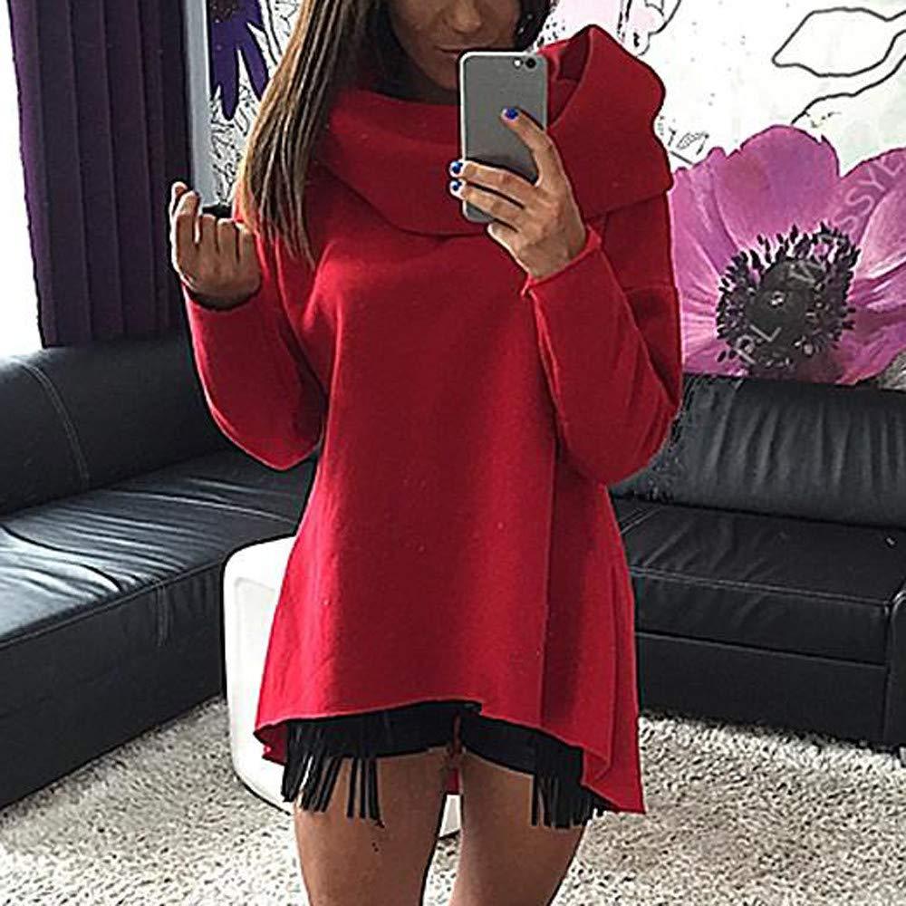 Baofull Herrenbekleidung Moda para Mujer Manga Larga Color Puro Top Fashion T Shirt Blusa para Mujer
