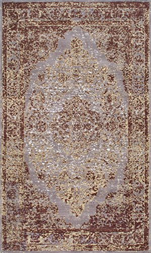 nuLOOM ALCD01A Floral Medallion Renay Area Rug, 5' x 8', Taupe - Origin: India Weave: machine made Material: 90% cotton, 10% polyester - living-room-soft-furnishings, living-room, area-rugs - 61BWYcGcxUL -