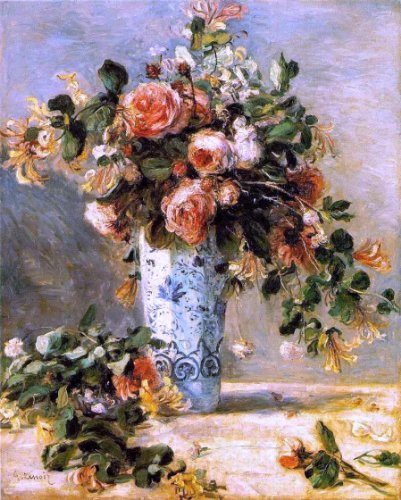 Roses Pierre Renoir Auguste - Pierre Auguste Renoir Roses and Jasmine in a Delft Vase - 20