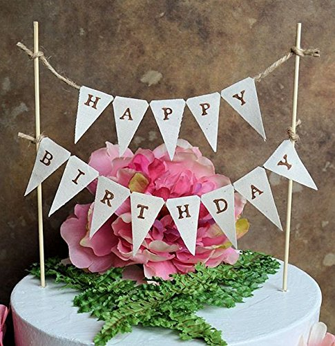 Birthday Cake TopperquotHAPPY BIRTHDAYquot Pennant Banner For Your Rustic
