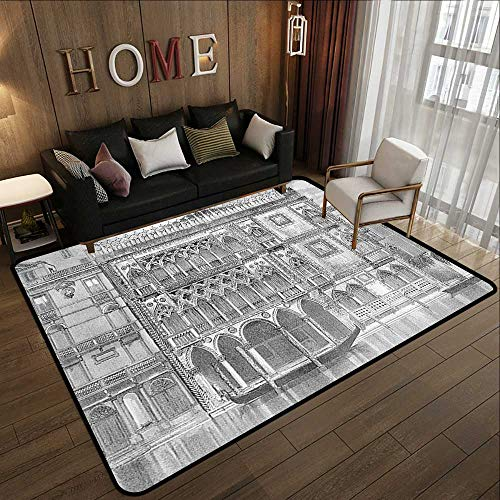 "Bath Rugs for Bathroom,Antique Decor,19th Century Engraving of Grand Canal Venice Monument Landmark Illustration,Black White 78.7""x 118"" Outdoor Kitchen Room Floor Mat"