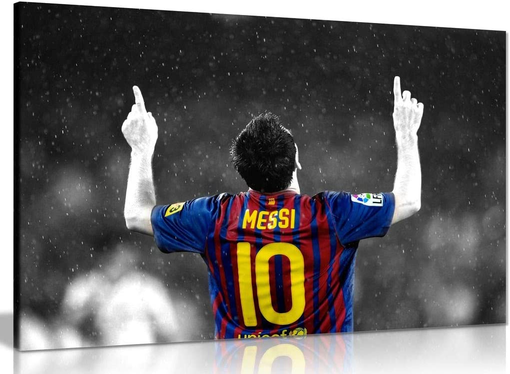 Lionel Messi Football Picture Print On Framed Canvas Wall Art Home Decoration