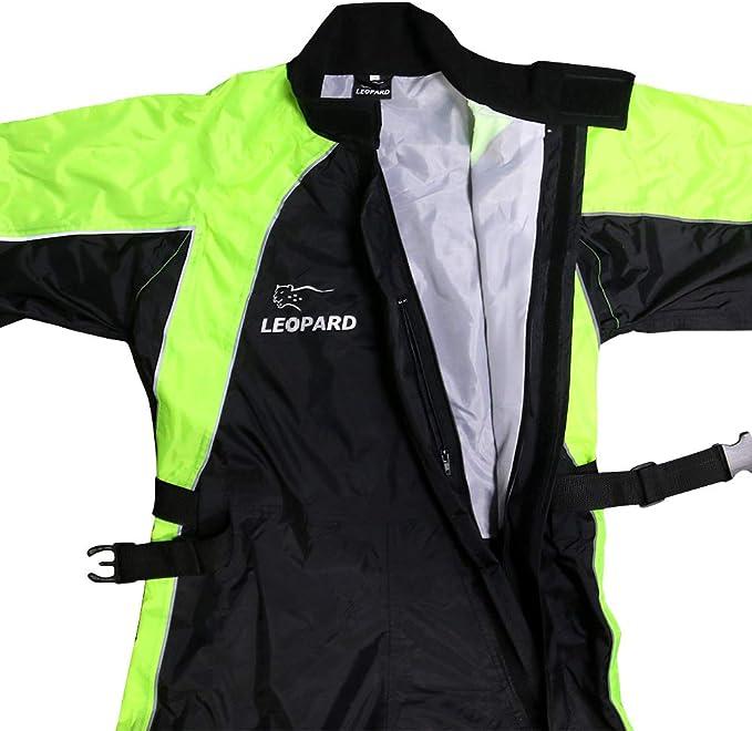 Leopard Hi Vis Wasserdicht Motorrad Regenanzug 1pc Xl Regenjacke Überanzug Für Männer Frauen Mit Reflektierenden Streifen Tragetasche Nasses Wetter Auto