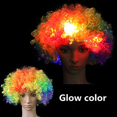 Explosión Flash LED Cabeza De La Peluca De Color Sombrero De ...