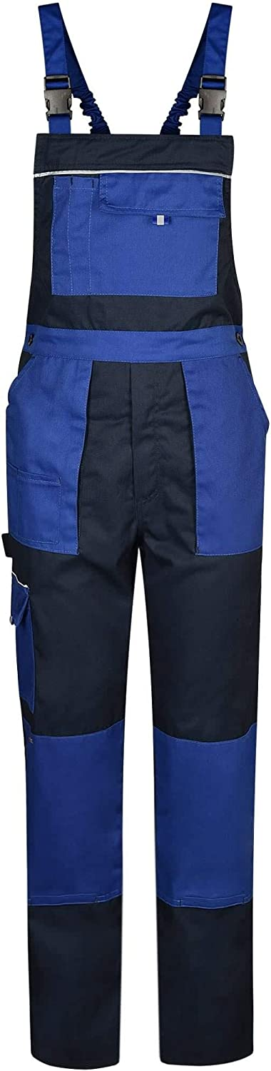 Reflective Elements Navy//Royal Blue Alpha Mens Work Bib and Brace Dungarees Overalls