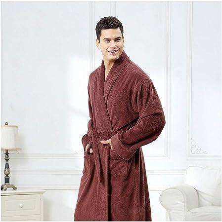 D&F Bata De Baño For Hombres, Prenda De Microfibra (100% Algodón) - Bata con 2 Bolsillos, Cinturón Y Lazo For Colgar (Color : A, Size : XXL): Amazon.es: Hogar