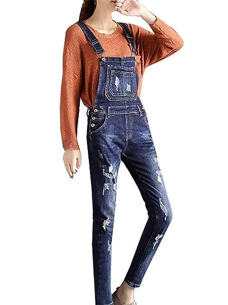 Elodiey Pantaloni con Bretelle da Donna Pantaloni Tasche Estivi Pantalone  Jeans Frontali Teared Anni 20 Slim Fit Pantaloni per Il Tempo Libero  all Aria ... 453aef3ec019
