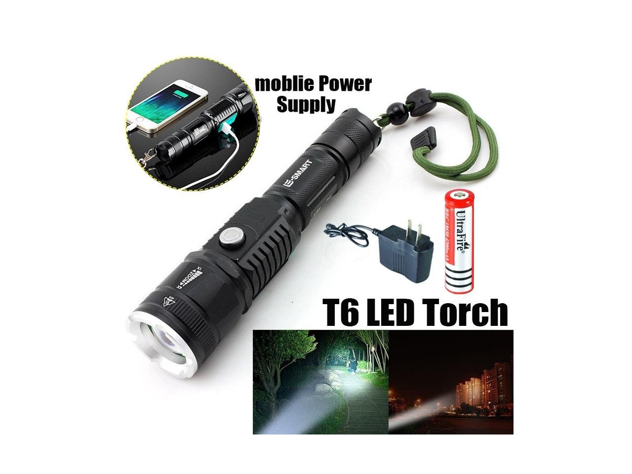 Briday Super Bright Stainless Steel USB Port CREE XM-L T6 LED Flashlight Rechargeable Power Bank For Mobile Phone + 1 Rechargeable 18650 Battery+ 1 AC Charger