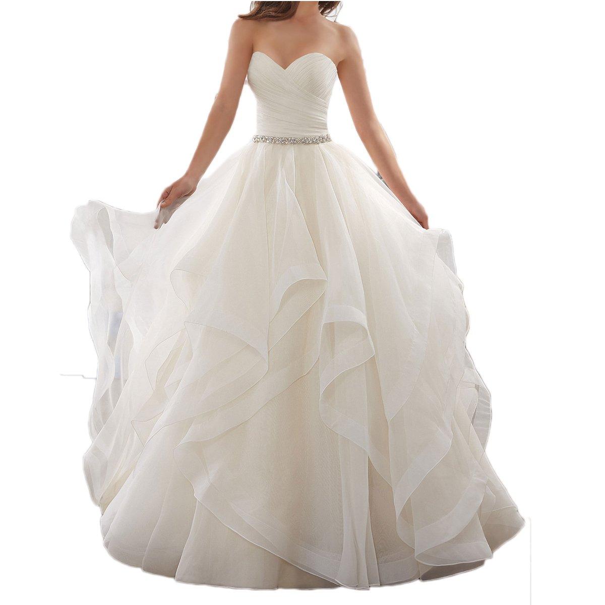 Westcorler Sweetheart Wedding Dresses Beading Sash Ruffles Tulle Ball Gown (us4, Ivory)