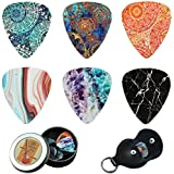 Guitar Picks - Cheliz 12 Medium Gauge Celluloid Guitar Picks In a Box W/Picks Holder. Unique Guitar Gift For Bass, Electric & Acoustic Guitars (Flower Stone)