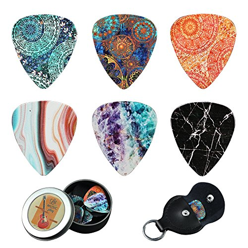 z 12 Medium Gauge Celluloid Guitar Picks In a Box W/Picks Holder. Unique Guitar Gift For Bass, Electric & Acoustic Guitars (Flower Stone) ()