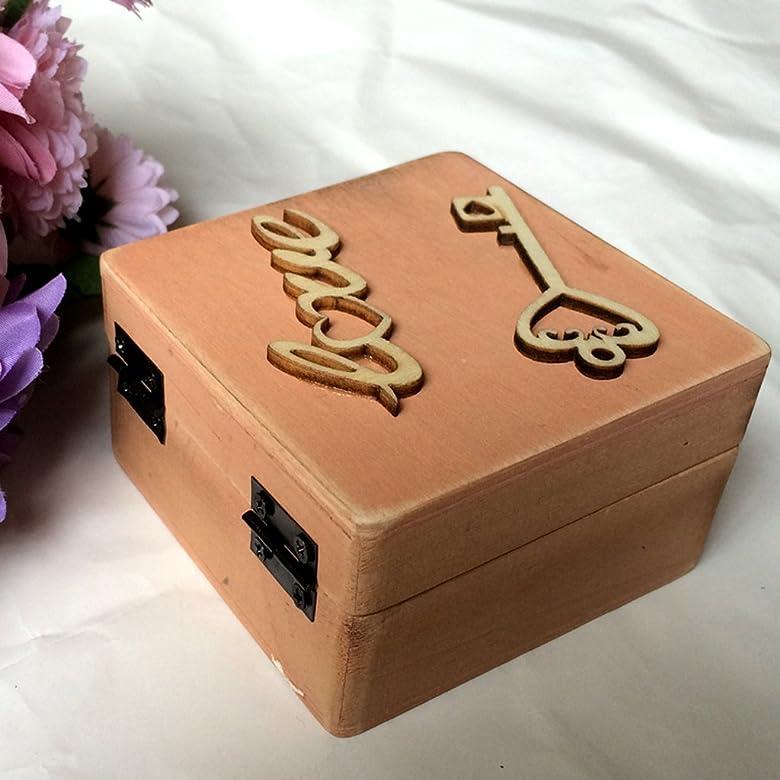 Jili en línea Vintage caja de cartas de amor de madera anillo anillos de boda diseño de llaves regalo: Amazon.es: Joyería