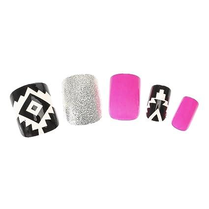 Claires-mujer-Lote De 24 De uñas, color rosa fluorescente purputina, diseño