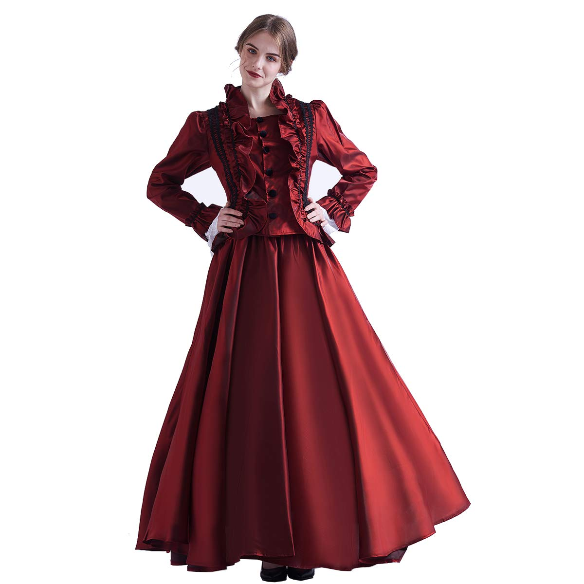 Victorian Costumes: Dresses, Saloon Girls, Southern Belle, Witch GRACEART Victorian Costume Renaissance Dress for Women Ball Gown (Dress & Hoop Skirt) $68.99 AT vintagedancer.com