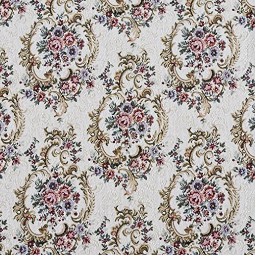 F641 Burgundy Green and Blue Floral Tapestry Upholstery Fabric by The Yard from Discounted Designer Fabrics