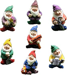 Honeyshow Fairy Garden Accessories Outdoor,Gnomes Garden Decorations-Mini Gnomes Fairy Garden Set Seven Dwarfs Statue for Fairy Gardens Decoration