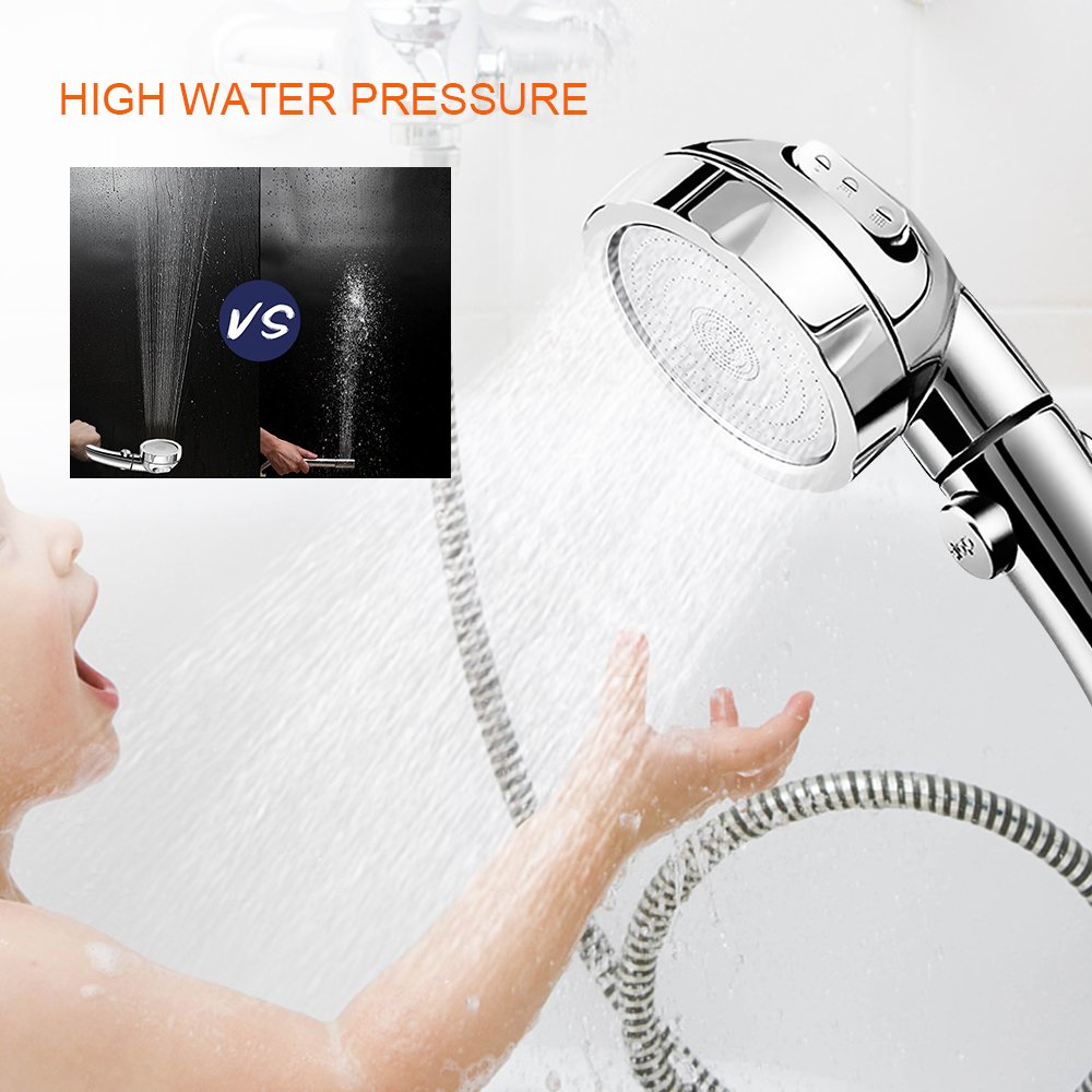 U2C Handheld Shower Head High Pressure Chrome 3 Spary Setting with ON/OFF Pause Switch Water Saving Adjustable Luxury Spa Detachable Multi-functions Bathroom Puppy Shower Accessories